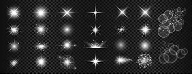 Conjunto grande de brilhos brancos e reflexo de lente