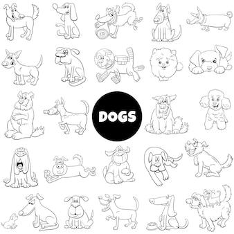 Conjunto grande de cachorros e cachorros de desenho animado