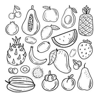 Conjunto grande de coleta de desenho de frutas tropicais