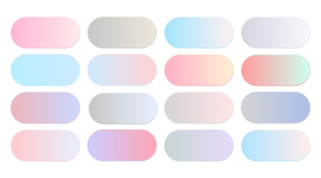 Conjunto grande de combinação de gradientes de cor pastel suave