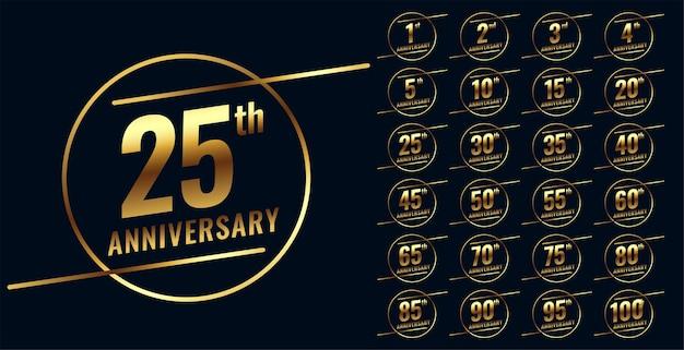 Conjunto grande de emblemas elegantes de aniversário de ouro
