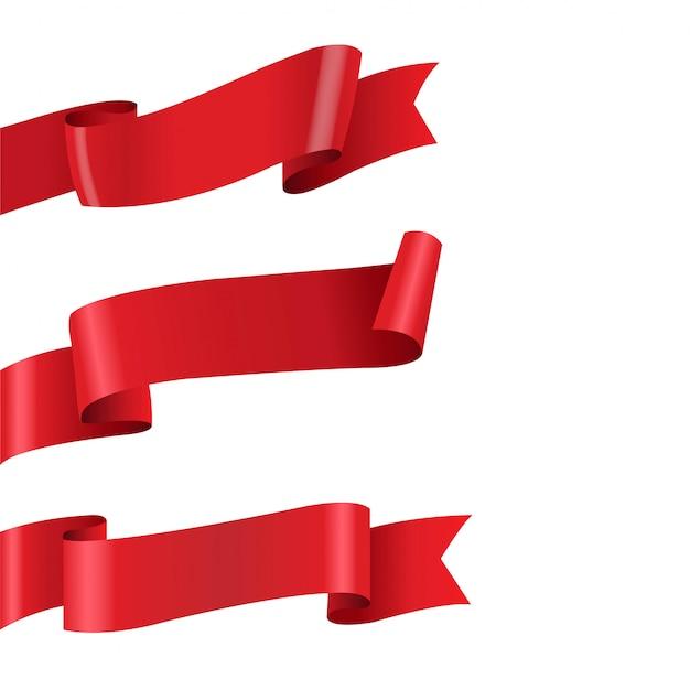 Conjunto grande de fita vermelha isolado