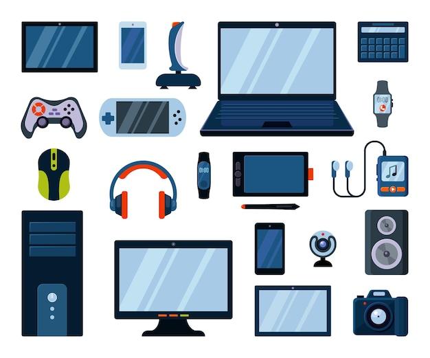 Conjunto grande de gadgets eletrônicos