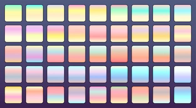 Conjunto grande de gradientes de cores holográficas ou pastel