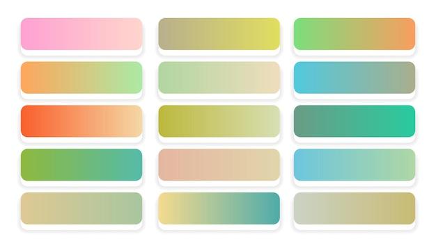 Conjunto grande de gradientes de cores pastel suaves