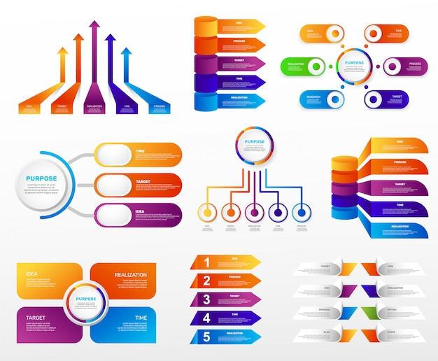 Conjunto grande de gráficos de infográficos