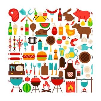 Conjunto grande de objetos isolados de churrasco. ilustração em vetor design plano. itens coloridos.
