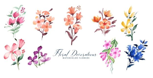 Conjunto grande de pequenas flores em aquarela fofas