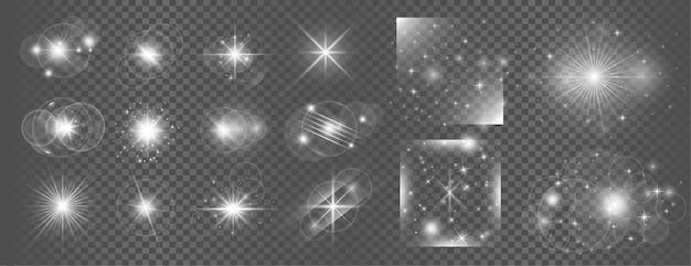 Conjunto grande de reflexo de lente branca brilhante transparente com efeito de luz