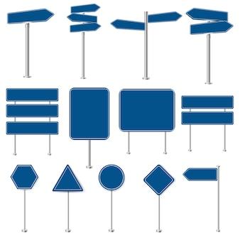 Conjunto grande de sinais de parada e coleção de sinais de trânsito