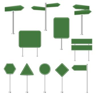 Conjunto grande de sinais de parada verdes e coleção de sinais de trânsito