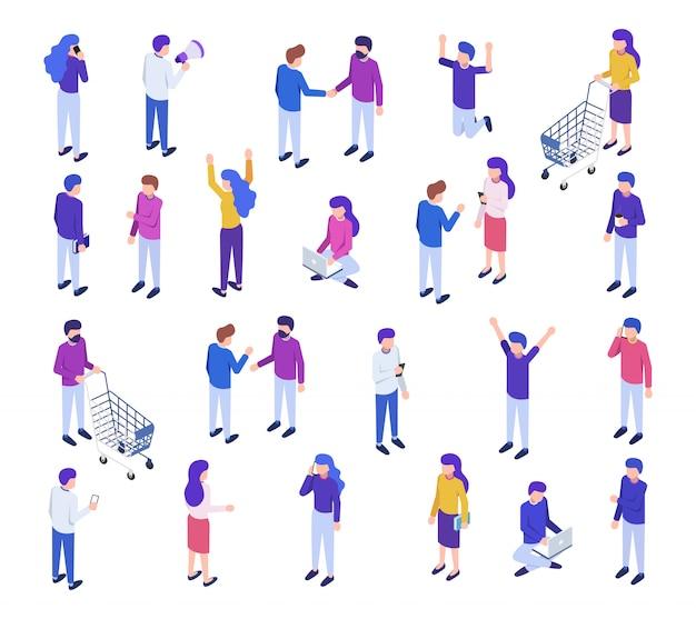 Conjunto grande isométrico de pessoas
