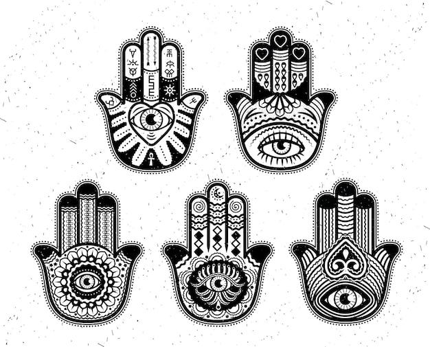 Conjunto hamsa vetor henna mehndi tatuagem ornamento oriental