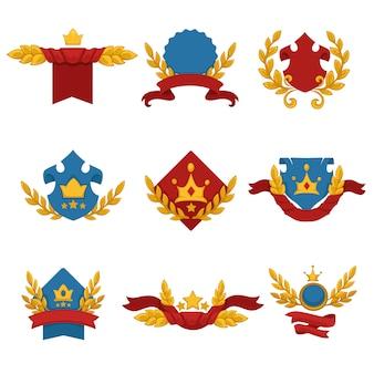 Conjunto heráldico banner com coroas e fitas