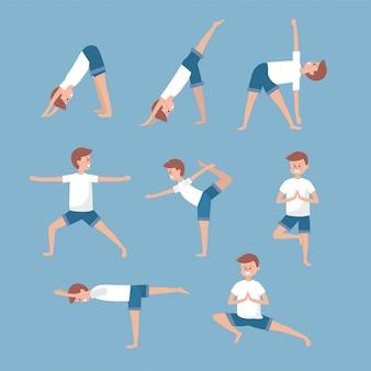 Conjunto, homem, treinamento, ioga, exercíciose, balancce