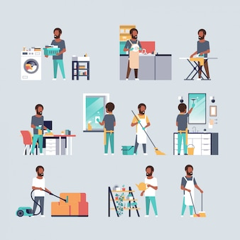 Conjunto homens fazendo tarefas domésticas diferentes conceitos de limpeza doméstica coleção personagens de desenhos animados masculino comprimento total