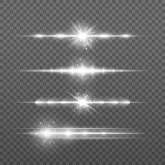 Conjunto horizontal branco de reflexos de lente