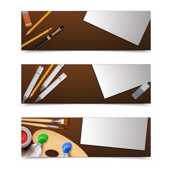 Conjunto horizontal de banners de desenho
