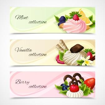 Conjunto horizontal de banners de doces