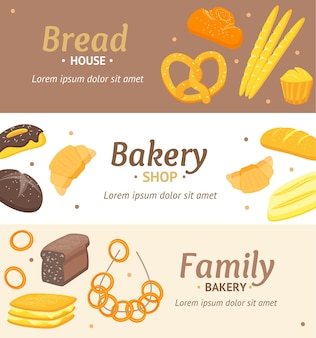 Conjunto horizontal de cartão de banner de padaria de cor cartoon para loja, menu