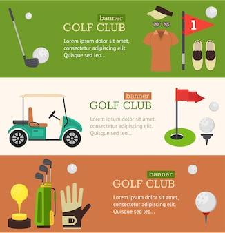 Conjunto horizontal do banner do clube de golfe