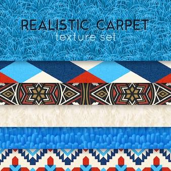 Conjunto horizontal realista de textura de tapete