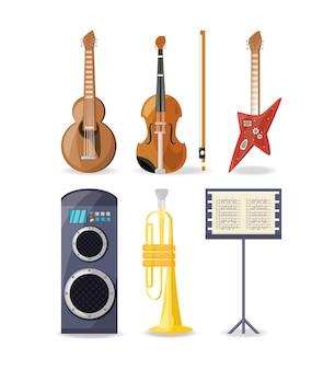 Conjunto ícone amplificador de instrumentos de música e folha de música