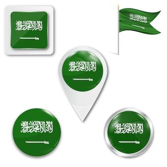 Conjunto, ícones, bandeira nacional, de, arábia saudita