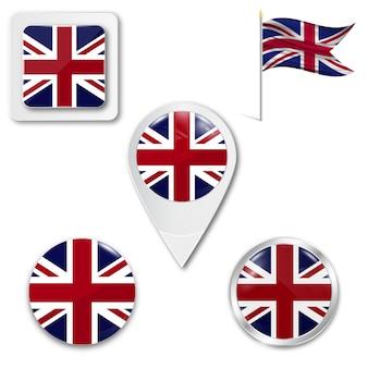 Conjunto, ícones, bandeira nacional, de, reino unido