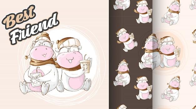 Conjunto. ilustração de padrão de vaca bonito