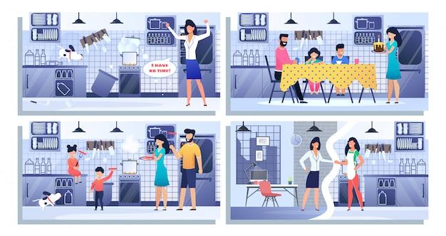 Conjunto ilustração família feliz