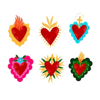 Conjunto ilustrado colorido coração sagrado
