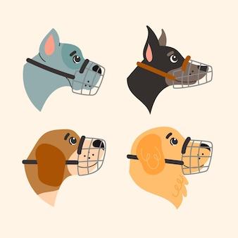 Conjunto ilustrado de cão açaime de desenho animado