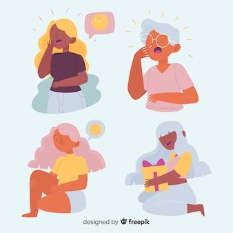 Conjunto ilustrado de emoções de pessoas