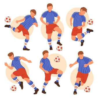 Conjunto ilustrado de jogadores de futebol
