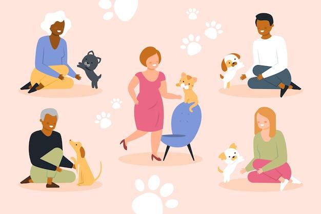 Conjunto ilustrado de pessoas com animais de estimação