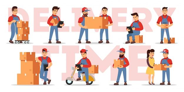 Conjunto ilustrando destaques de serviços de entrega: contagem de preço, verificação de pedido, transporte de encomendas com carregadores, carregadeiras, motoneta, carrinho, correio para o cliente. desenhos animados em branco.