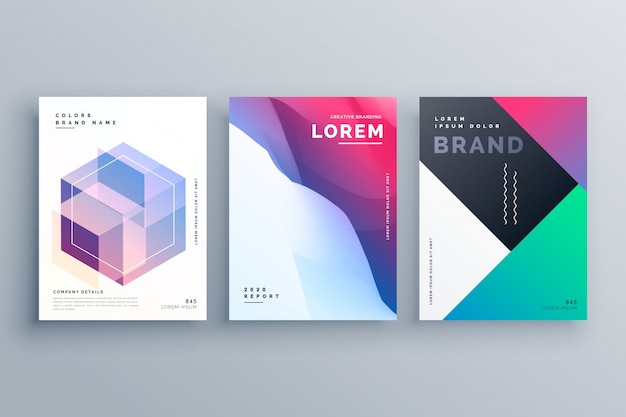 Conjunto impressionante de folheto comercial abstrato em estilo criativo