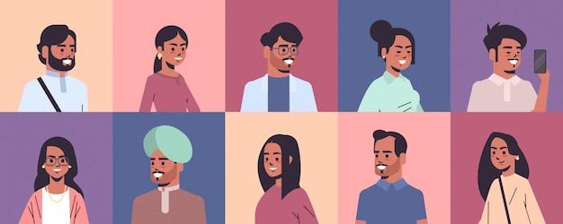 Conjunto indiano homens mulheres avatares sorrindo masculino feminino personagens de desenhos animados coleção retrato horizontal