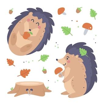 Conjunto infantil desenhado à mão com ouriços, folhas e cogumelos