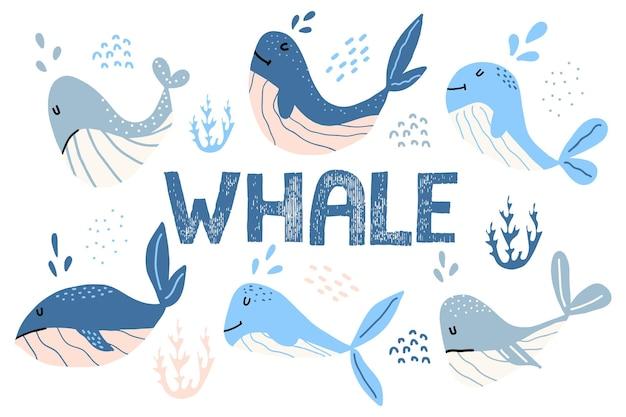 Conjunto infantil desenhado à mão de baleias bonitas baleias azuis letras