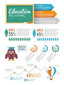 Conjunto infográfico de educação
