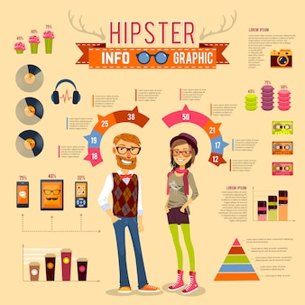 Conjunto infográfico hipster