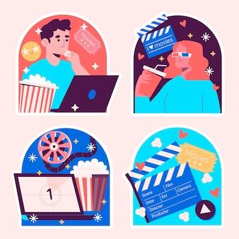 Conjunto ingênuo de adesivos para amantes de filmes