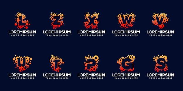 Conjunto inicial com design de logotipo de bolha