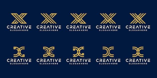 Conjunto inicial de letra x modelo de logotipo
