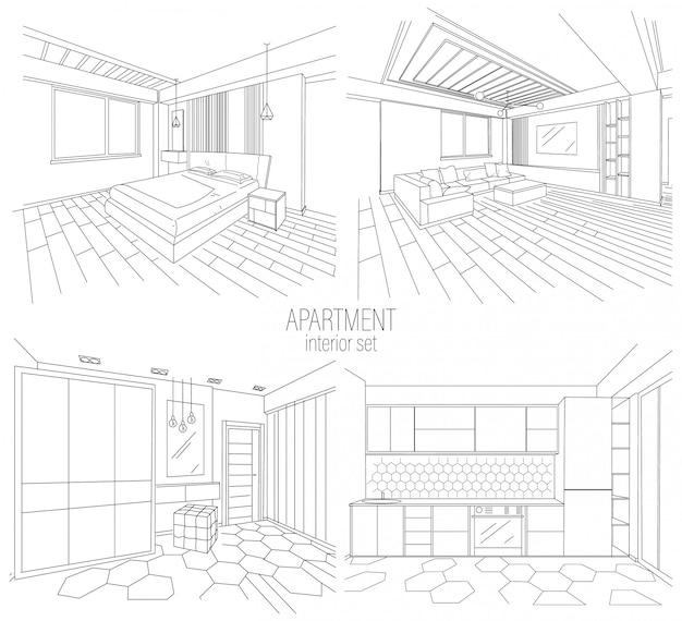 Conjunto interior de apartamento estilo moderno