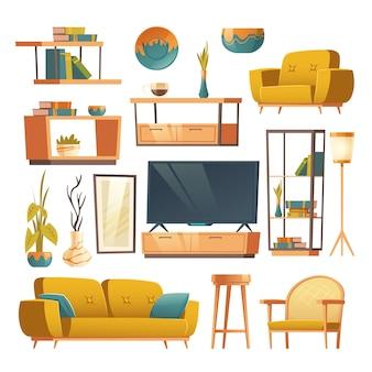 Conjunto interior de sala de estar de móveis