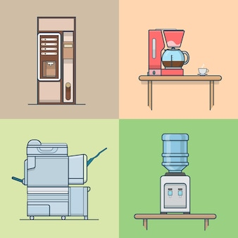 Conjunto interno interno da sala técnica da cozinha do escritório