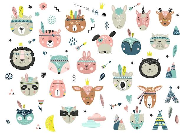 Conjunto isolado com rostos de animais tribais bonitos em estilo escandinavo. coleção com flechas, penas e tenda. estilo boho.